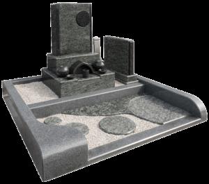 洋墓(インパラブルー+オリーブグリーン+黒御影石)