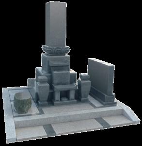 黒御影石尺寸レンゲ付先祖墓